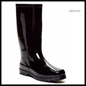 BLACK PATENT TALL GLOSSY RAIN BOOTS